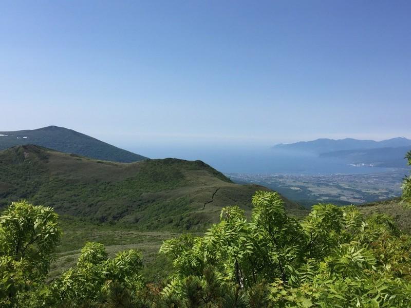 白樺山の尾根から見える日本海