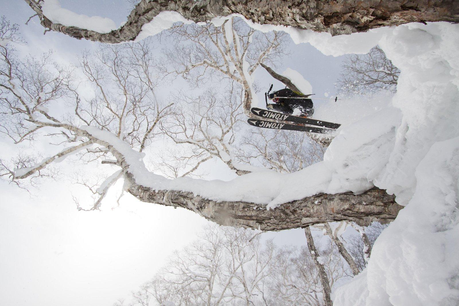 北海道ニセコ花園リゾートでスキーを楽しむ人