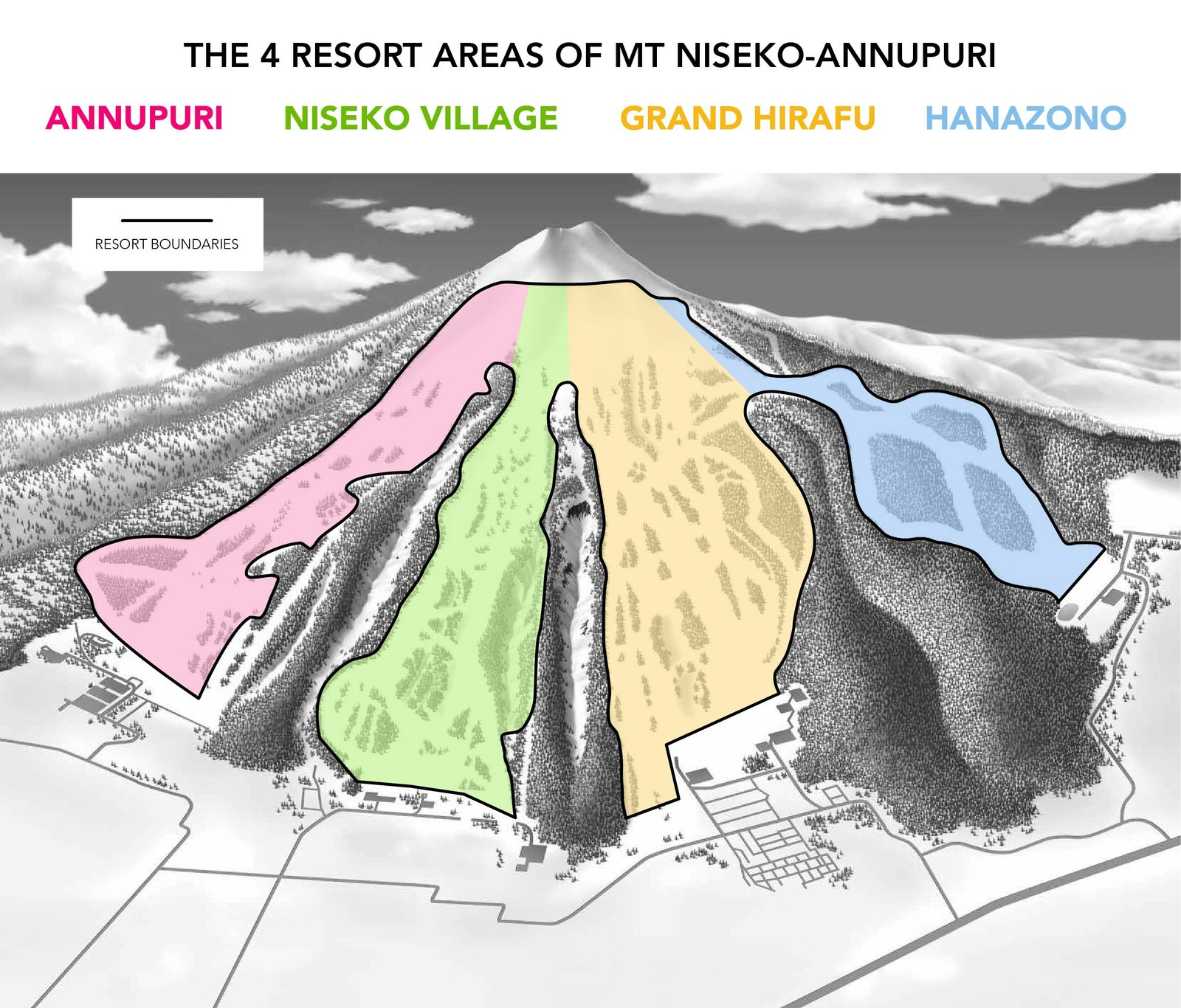 the 4 resorts of niseko on a map of mt niseko annupuri.