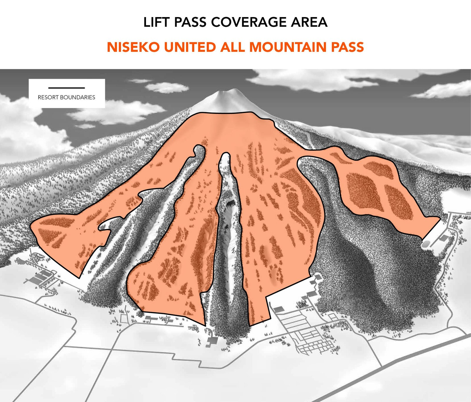 the area of the niseko united all mountain lift pass.