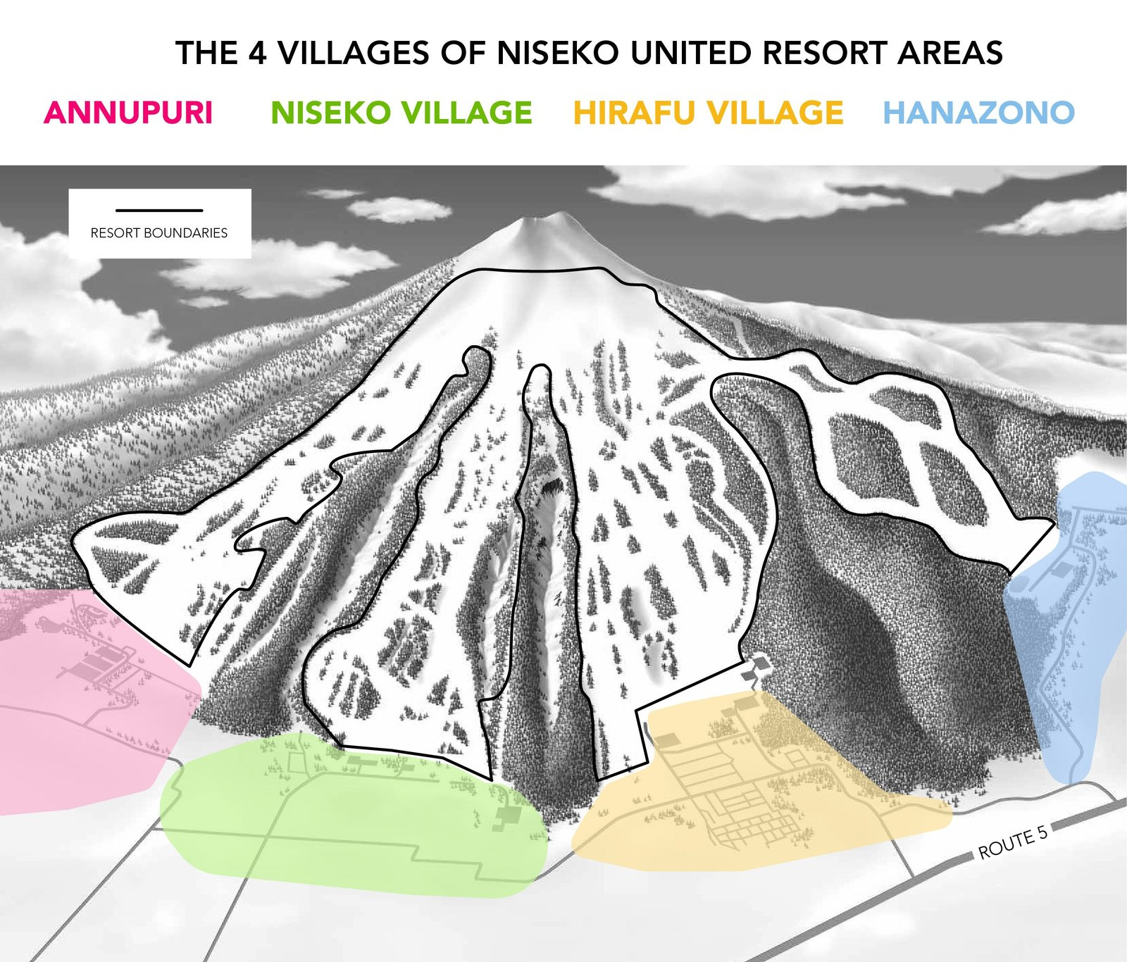 the village areas of the Niseko United ski resort area.