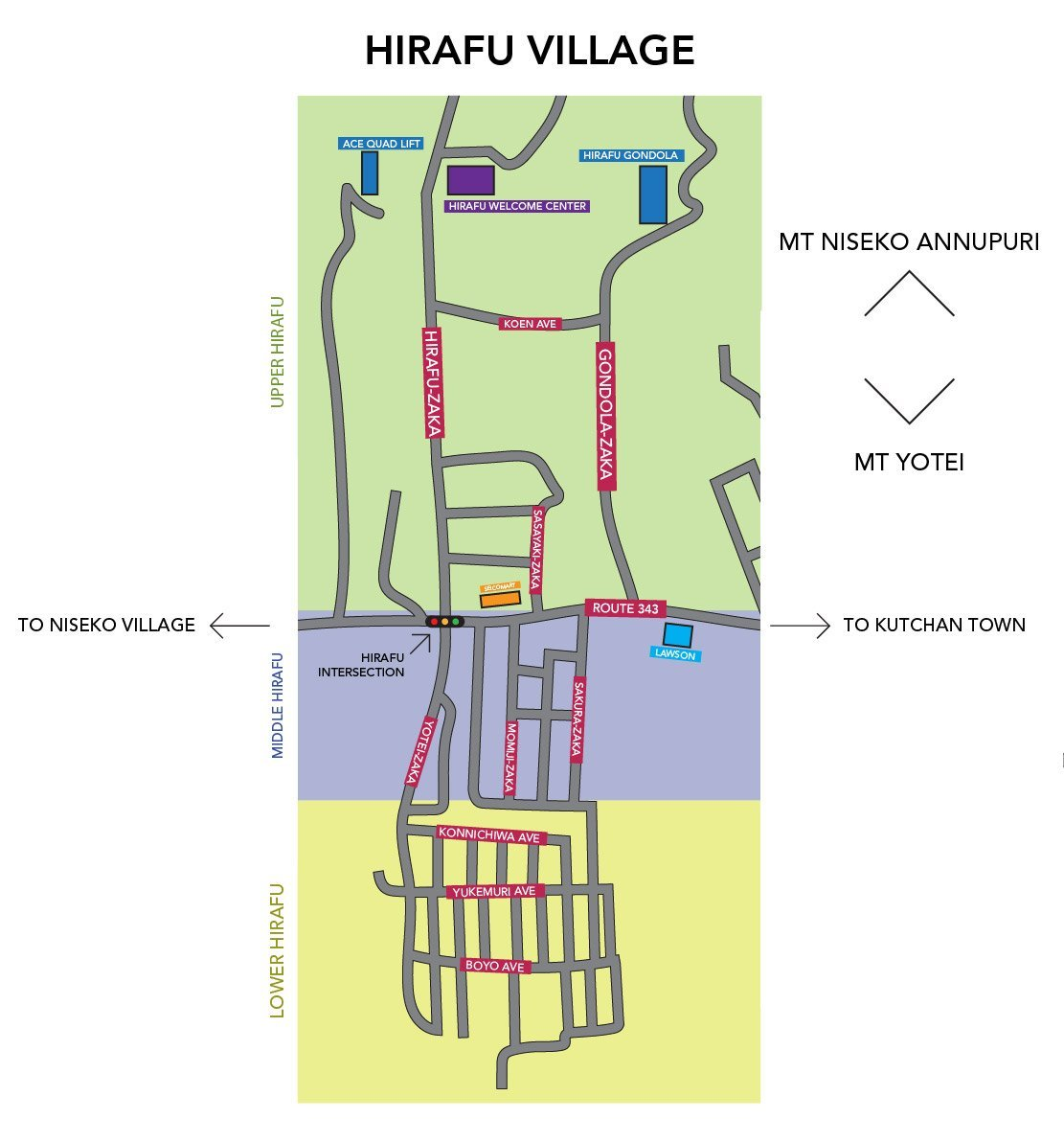 a breakdown of the different areas of hirafu village in niseko.