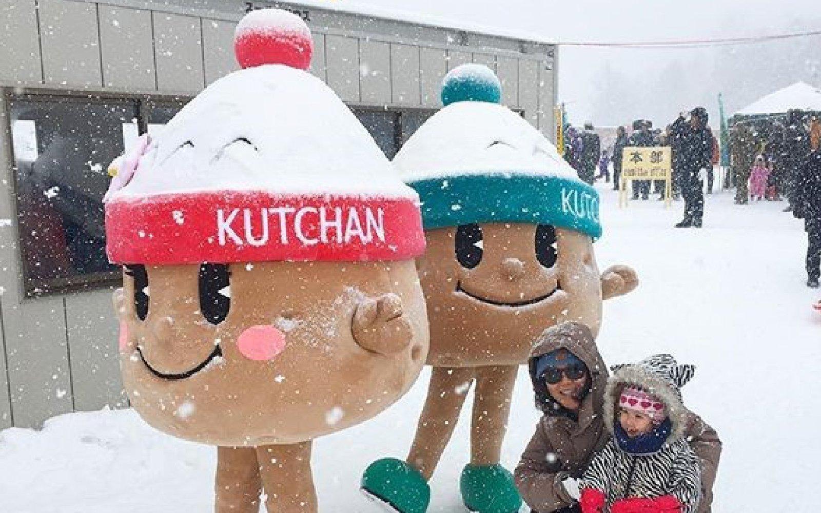 jagatakun and jagakochan at yukitopia snow festival kutchan