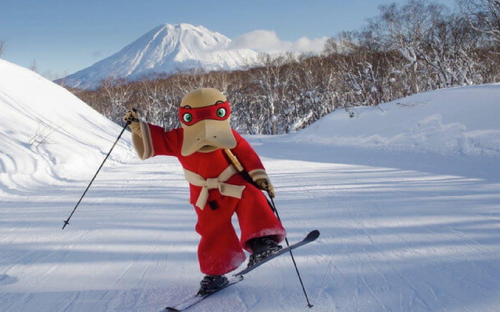 kamonohashi is the platypus samurai mascot for hanazono niseko japan