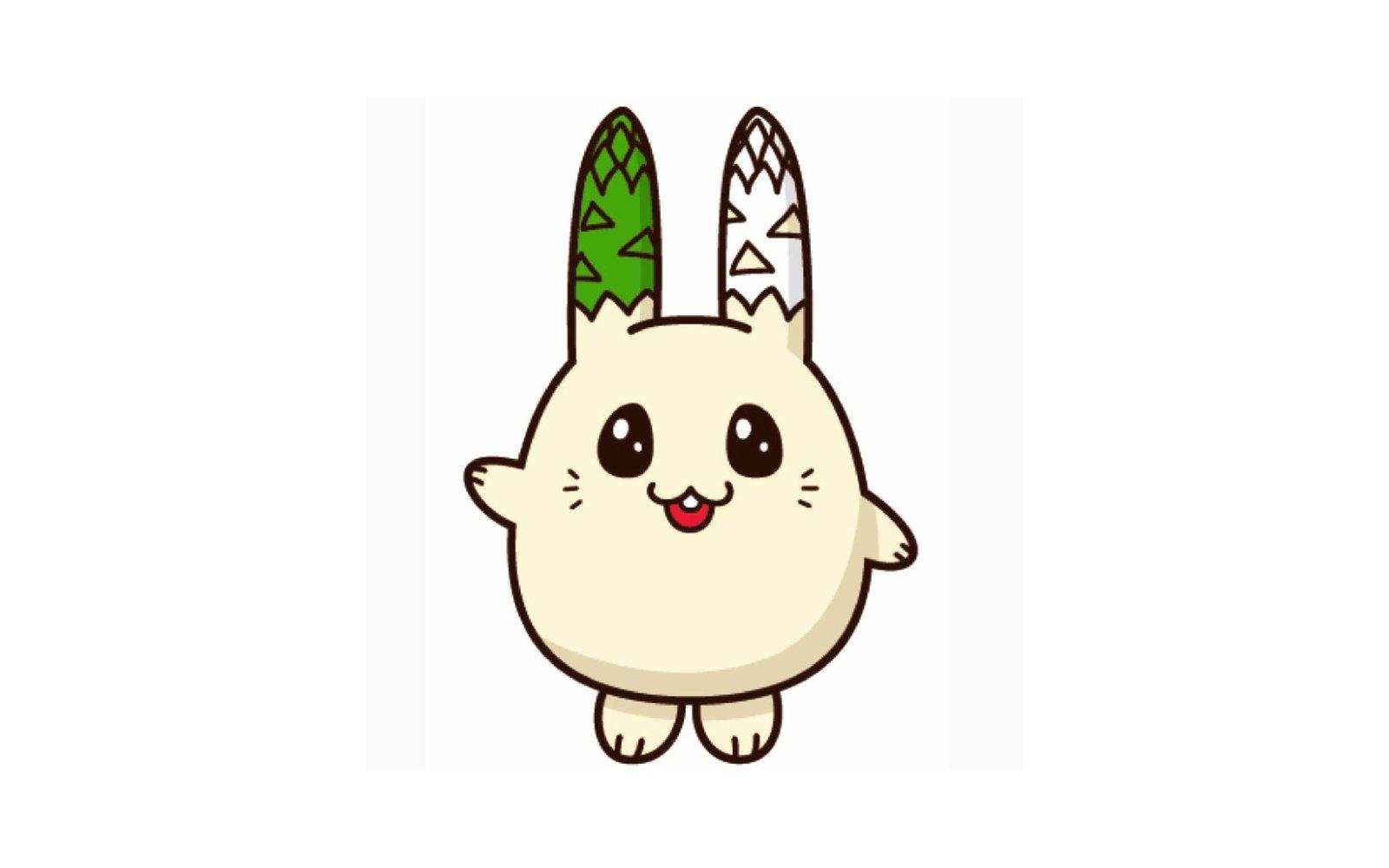 usapara kun is the asparagus bunny rabbit mascot of kimobetsu in hokkaido japan