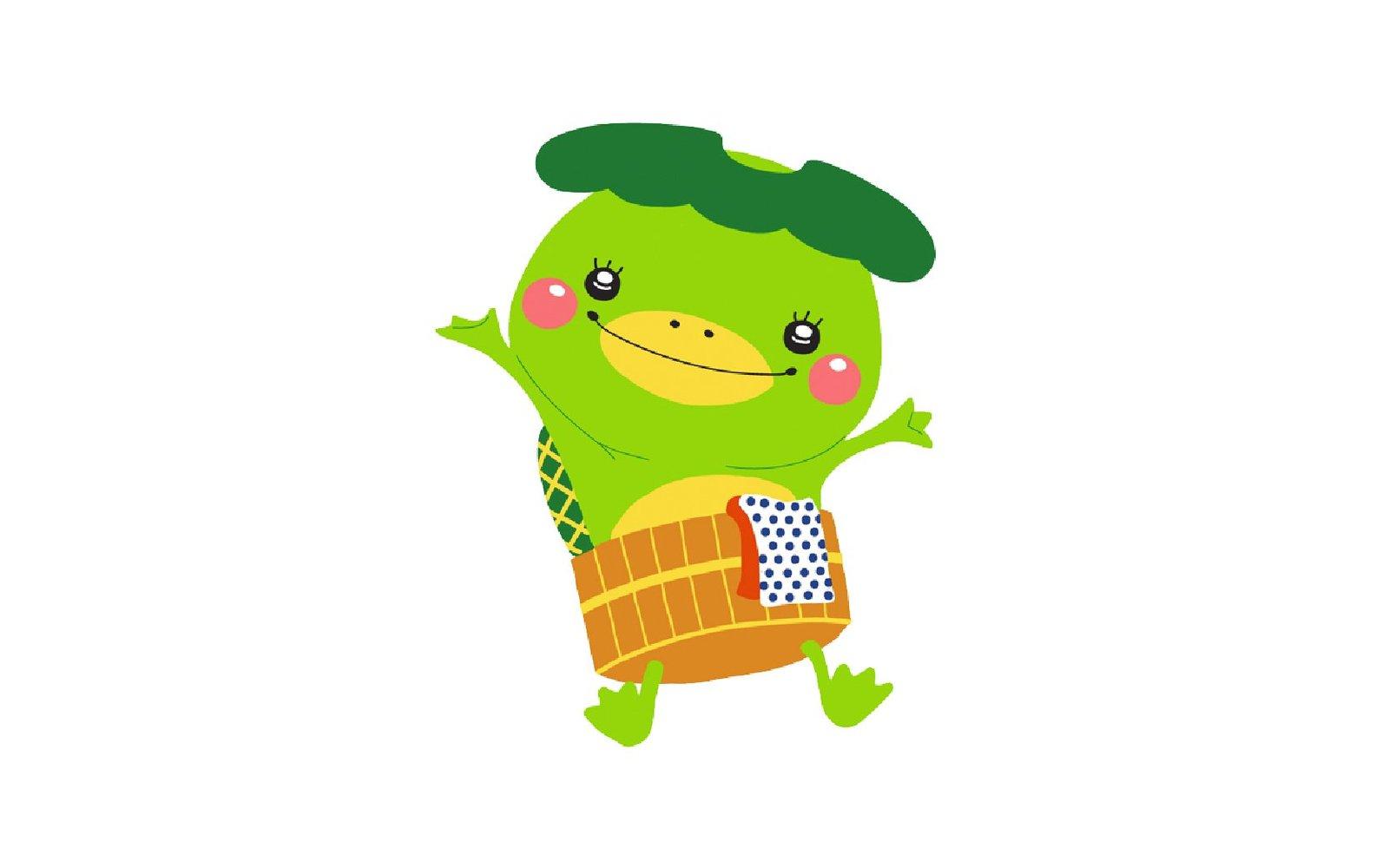 kappon is the onsen frog mascot of jozankei onsen in hokkaido japan