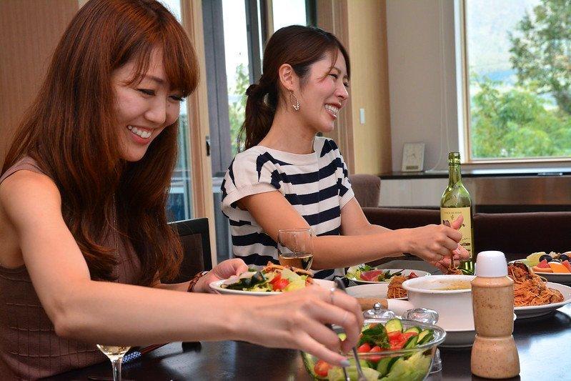 eating dinner in summer at forest estate niseko