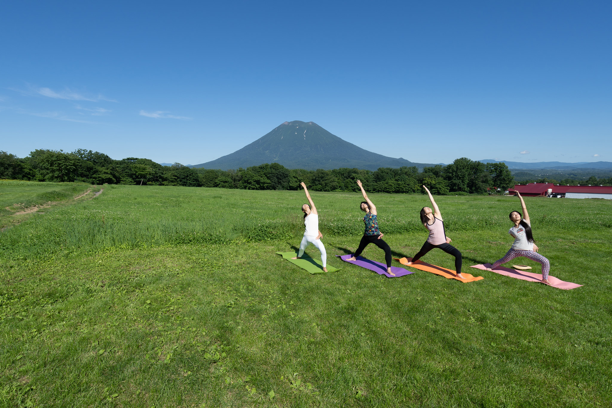 four women practicing yoga in front of mt yotei in summer
