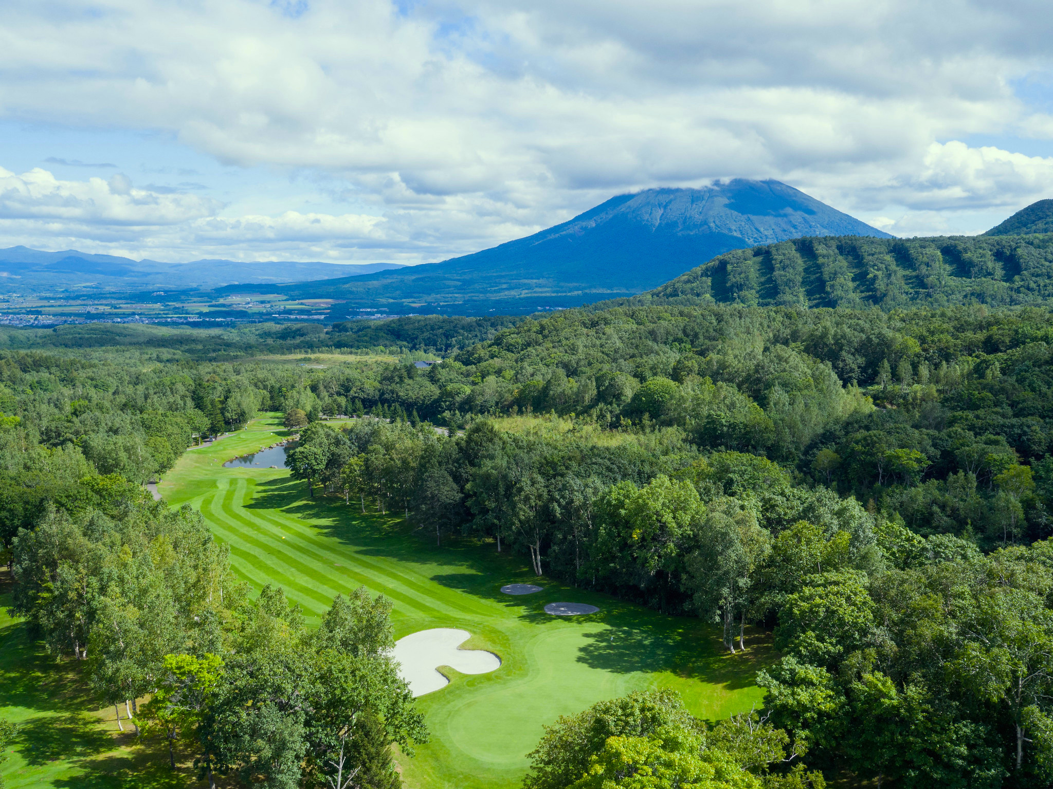 A view of a Niseko golf course with Mt Yotei.
