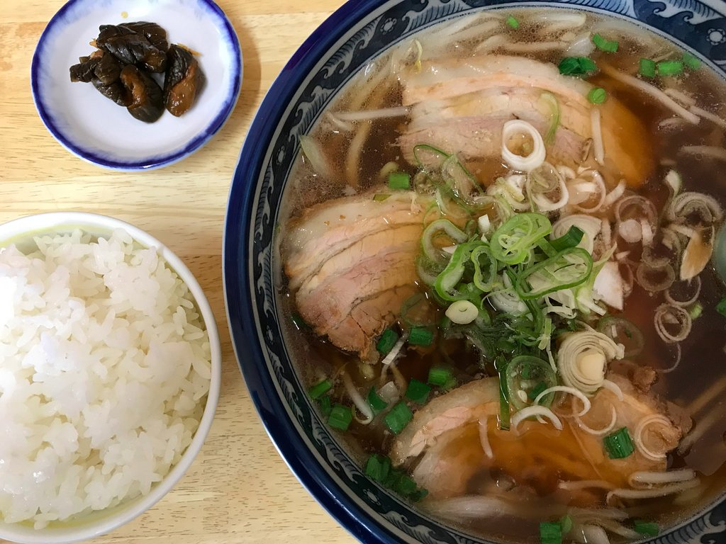 Soy sauce ramen with pork and green onion at Nakama Ramen.