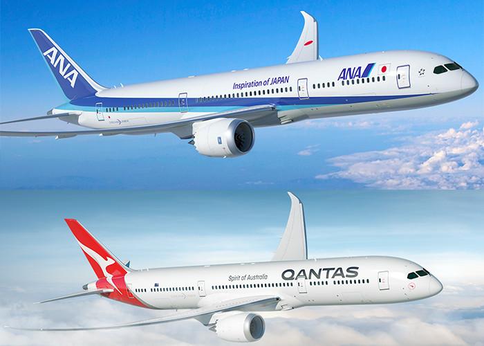 ANA airplane and QANTAS airplane in the air.