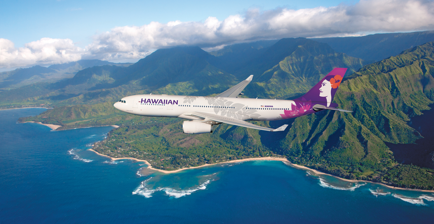 A Hawaiian Airlines plane over the islands of Hawai'i.