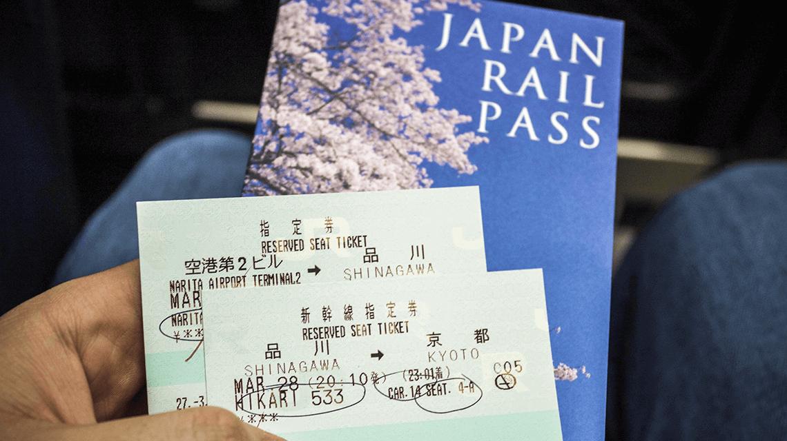 A Japan JR Rail Pass ready to board.