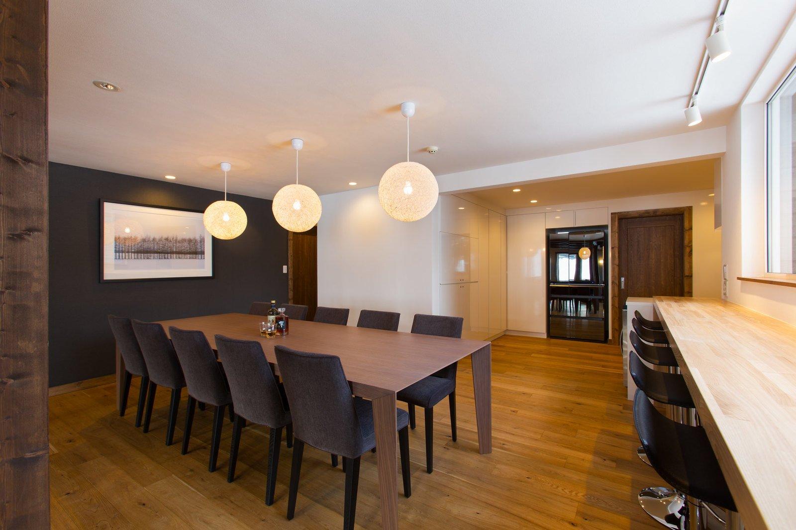 The dining room in 7 bedroom house Greystone in Niseko.