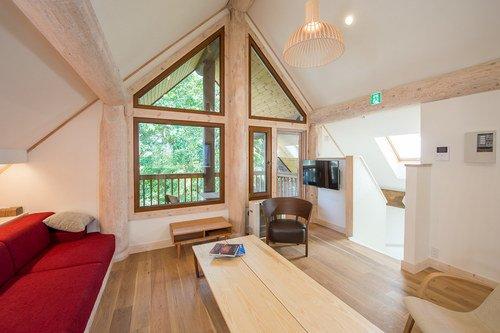 The living room in Koho, a 3 bedroom house in Niseko.