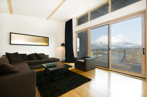 The living room with a view of Mt Yotei in Forest Estate, a 3 bedroom house in Niseko.