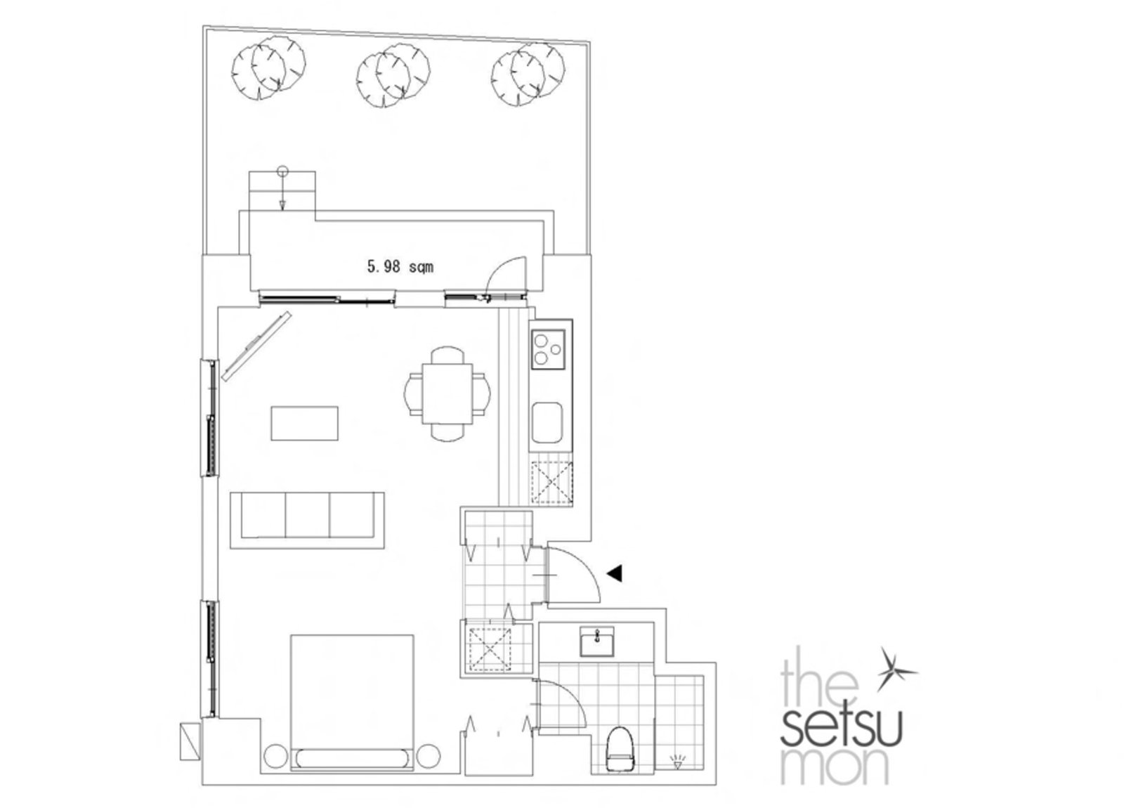 Setsumon studio apartment 102 large