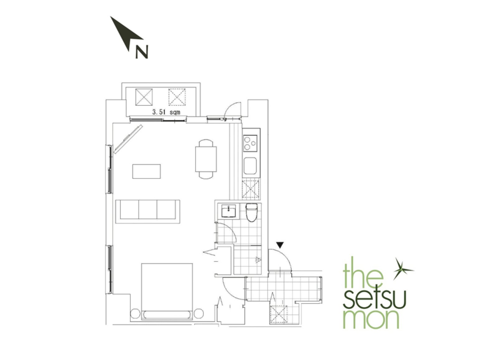 Setsumon studio apartment 201s large