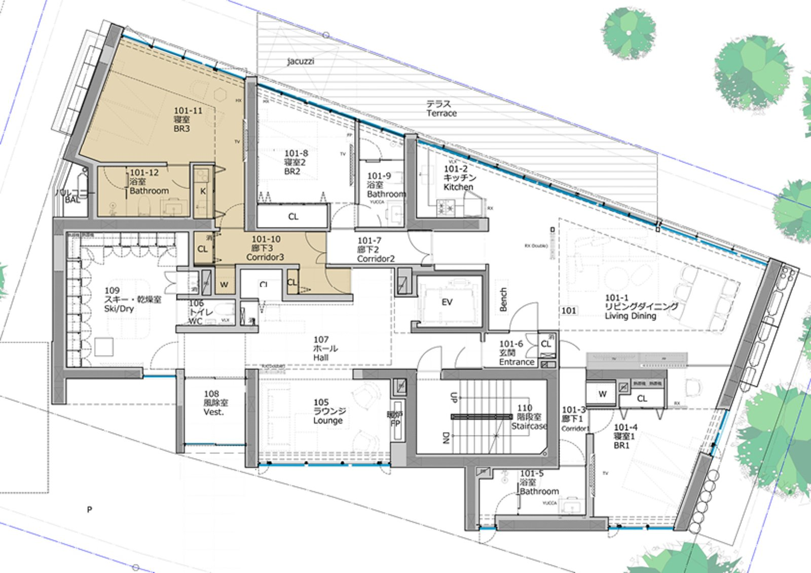 Kozue floorplan 101 studio large
