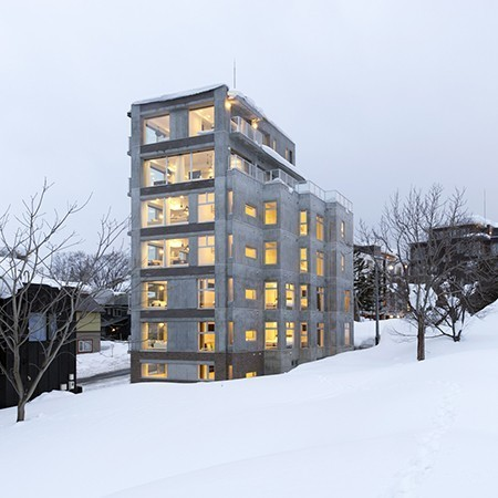 Exterior of Kizuna Niseko Accommodation in Winter.