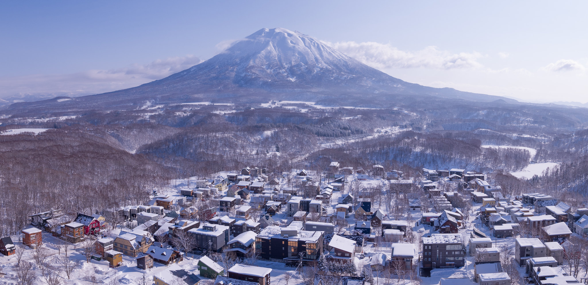 Apartments and Houses in Lower Hirafu in Niseko with a view of Mt Yotei.