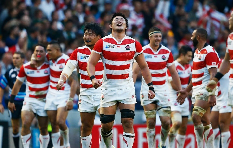 The Japanese rugby union team on the field as they play in the 2015 World Cup in England.