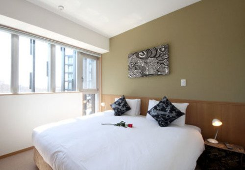 The master bedroom in a 3 bedroom apartment at Snow Crystal apartments in Niseko, Japan.