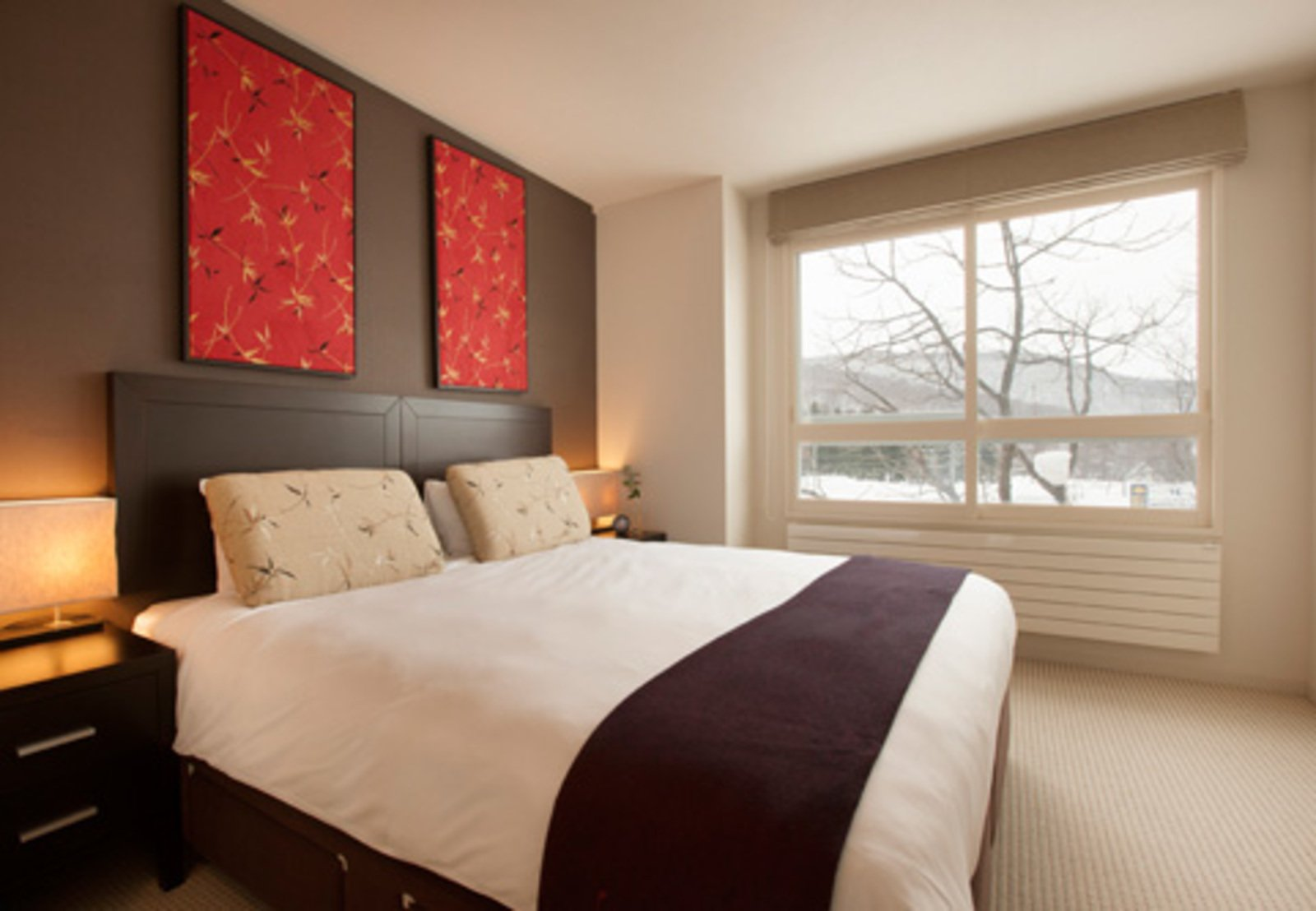 The master bedroom in a 2 bedroom apartment at Freshwater apartments in Niseko, Japan.