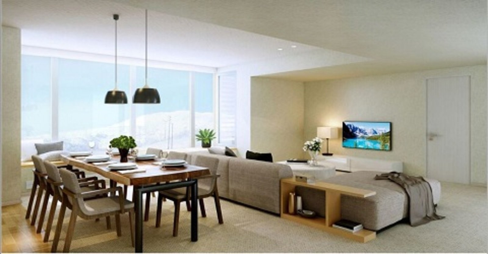 The living room in a 4 bedroom penthouse with Yotei views in The Maples, Niseko.