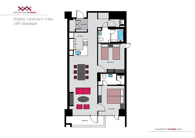 The floorplan of a 2 bedroom standard apartment in Niseko Landmark View.