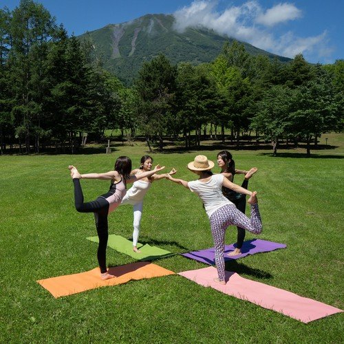 outdoor yoga in niseko summer